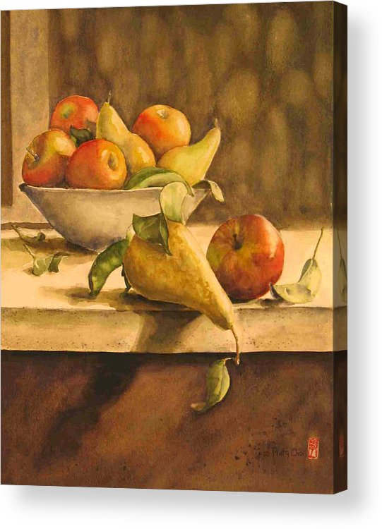 Still-life Acrylic Print featuring the painting Still-life With Apples And Pears by Piety Choi