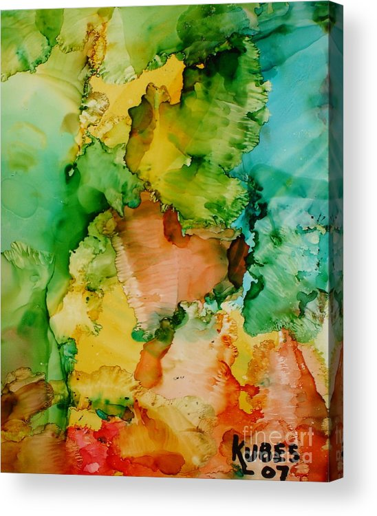 Abstract Acrylic Print featuring the painting Sunlit Reef by Susan Kubes