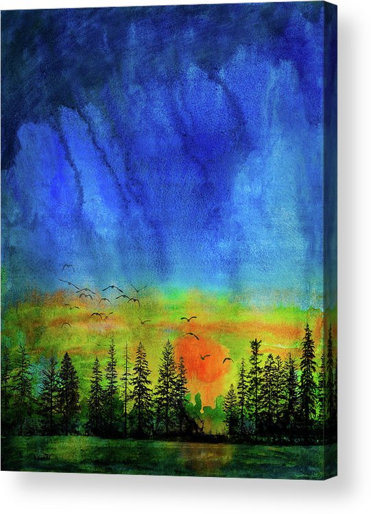 Aquarelle Acrylic Print featuring the mixed media Sunset Silhouette With Canada Geese by Peter V Quenter