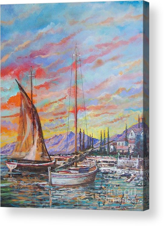 Original Painting Acrylic Print featuring the painting Sunset by Sinisa Saratlic