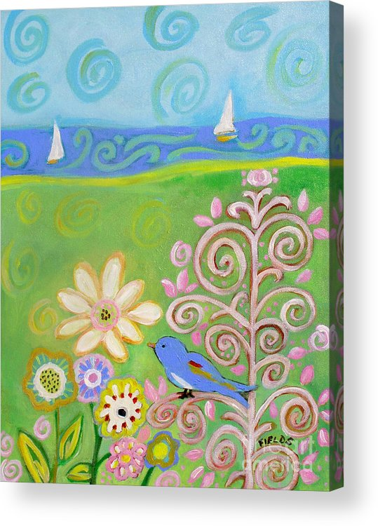 Sailboat Acrylic Print featuring the painting Sweet Summer by Karen Fields