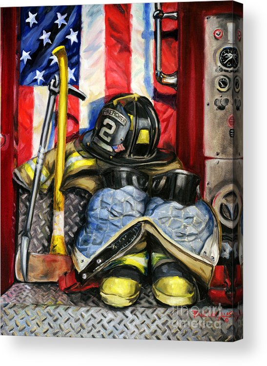 Firefighting Acrylic Print featuring the painting Symbols Of Heroism by Paul Walsh