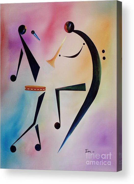 Trumpet Acrylic Print featuring the painting Tambourine Jam by Ikahl Beckford