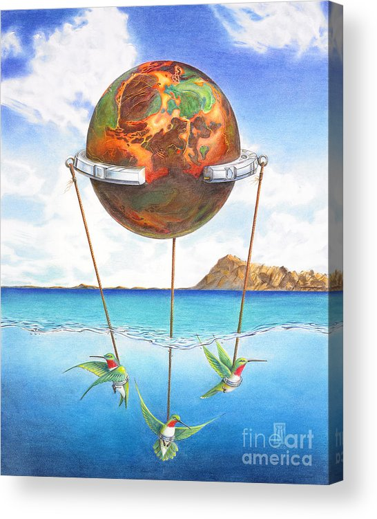 Surreal Acrylic Print featuring the painting Tethered Sphere by Melissa A Benson