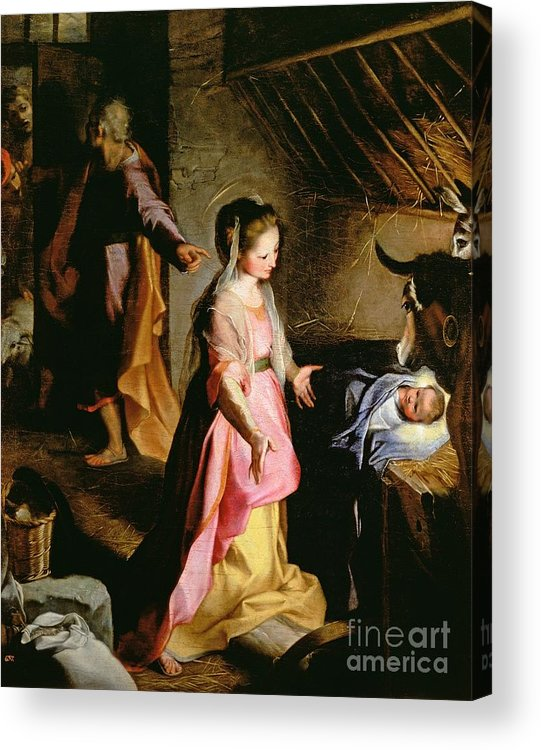 Nativity Acrylic Print featuring the painting The Adoration Of The Child by Federico Fiori Barocci or Baroccio