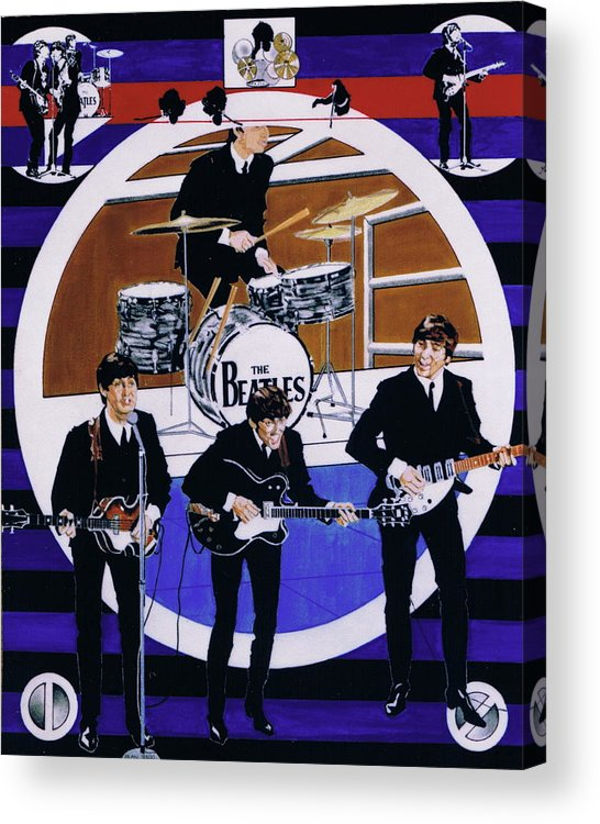 1960s Acrylic Print featuring the drawing The Beatles - Live On The Ed Sullivan Show by Sean Connolly
