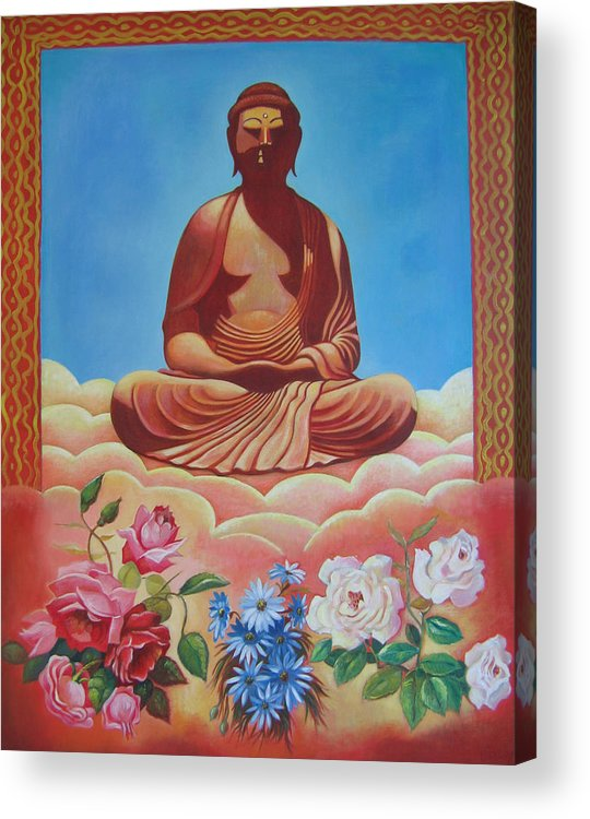 People Acrylic Print featuring the painting The Budha by Hiske Tas Bain