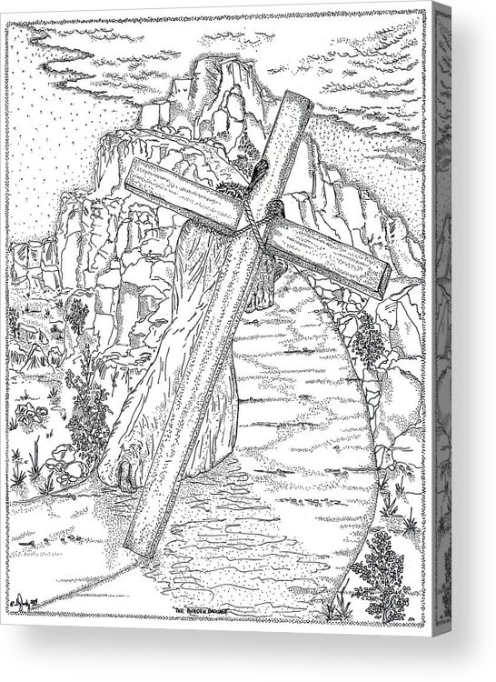 Jesus Christ Acrylic Print featuring the drawing The Burden Endured by Glenn McCarthy Art and Photography