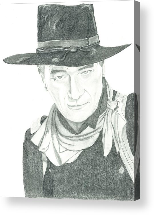 John Wayne Acrylic Print featuring the drawing The Duke by Seventh Son