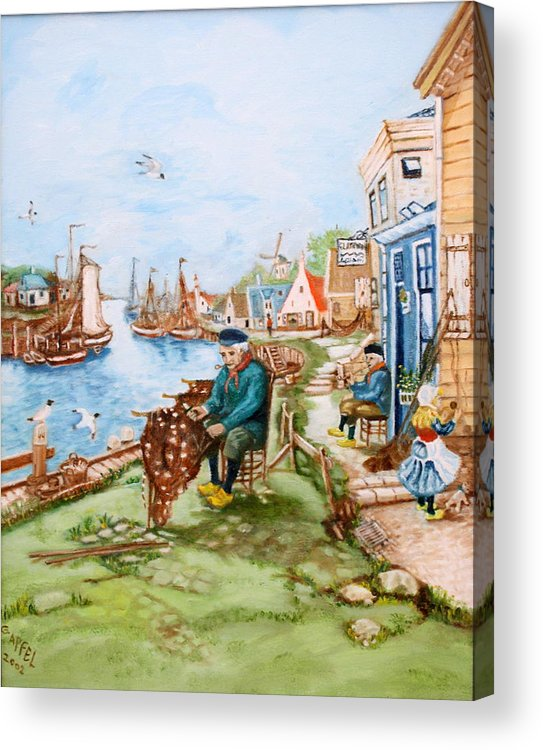 Fishing Village Dock Seascape.sailboats.nets Acrylic Print featuring the painting The Fisherman by Gloria M Apfel