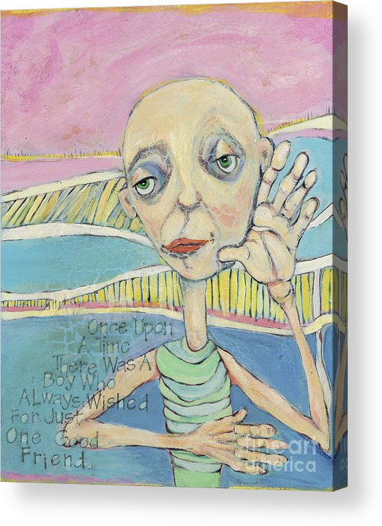 Whimsical Art Acrylic Print featuring the painting The Friendless Boy by Michelle Spiziri