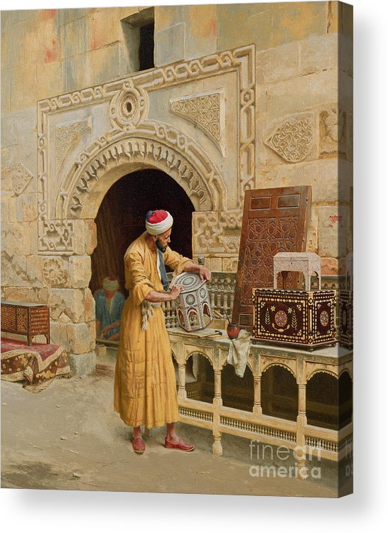 The Acrylic Print featuring the painting The Furniture Maker by Ludwig Deutsch