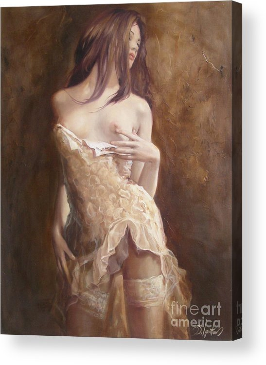 Art Acrylic Print featuring the painting The Laces by Sergey Ignatenko