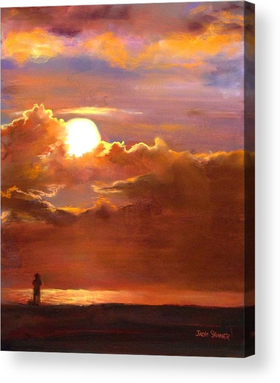 Sunset Acrylic Print featuring the painting The Last Cast by Jack Skinner