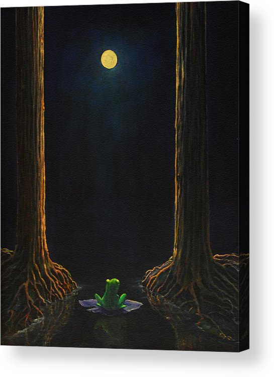 Landscape Animal Frog Trees Mystic Acrylic Print featuring the painting The Little Frog by Craig shanti Mackinnon