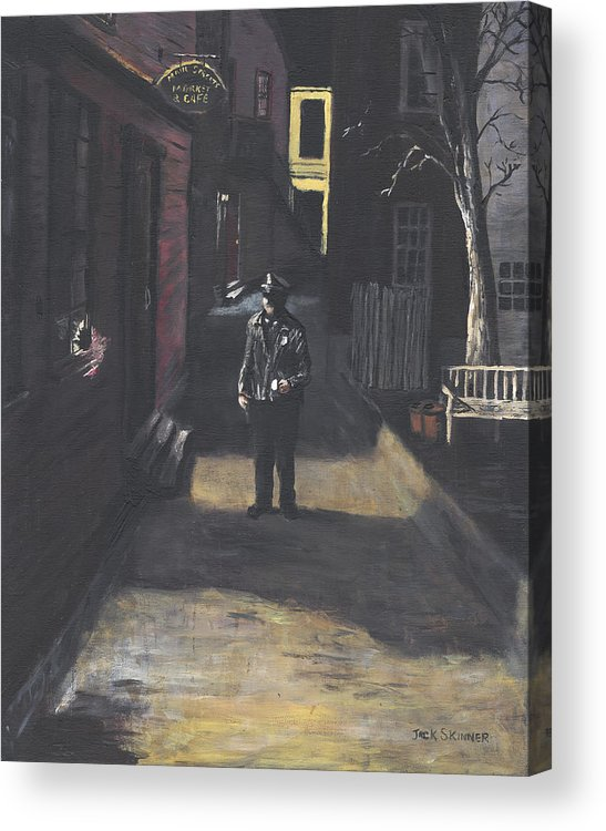 Police Officer Acrylic Print featuring the painting The Lonely Beat by Jack Skinner
