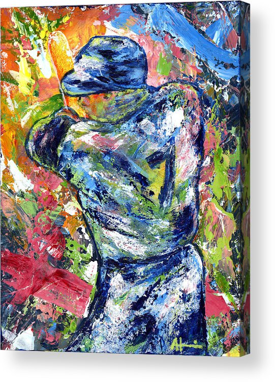 Oil Painting Art Artwork Acrylic Impressionist Impressionism Palette Knife Texture Giclee Print Reproduction Colorful Bright Athlete Athletic Sports Figures Human Mickey Mantle Left Handed New York Yankees Mick Baseball Switch Hitter Mlb Major League Professional Champion Throwing Catch Outfield Shortstop First Second Third Single Double Triple Base Grand Slam No Hitter Play Of The Day Highlight Uniform Stadium Commitment Consecutive Record Hits Home Run Runs Batted In Rbi Color Colour Colourful Acrylic Print featuring the painting The Mick Mickey Mantle by Ash Hussein