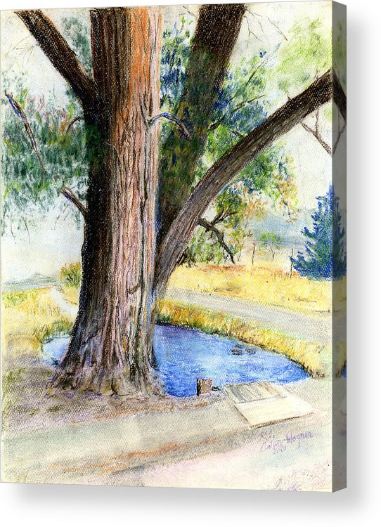 Tree Acrylic Print featuring the pastel The Old Tree by Arline Wagner