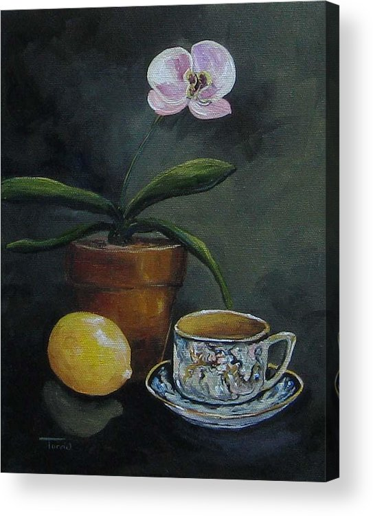 Orchid Acrylic Print featuring the painting The Orchid And The Dragon by Torrie Smiley