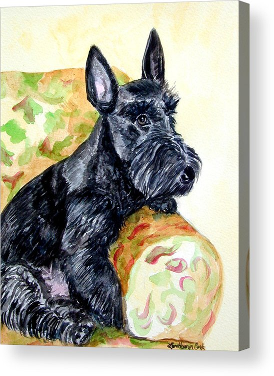 Scottish Terrier Acrylic Print featuring the painting The Perfect Guest - Scottish Terrier by Lyn Cook