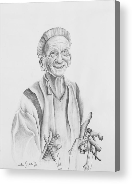 Portrait Acrylic Print featuring the drawing The Puppeteer by Victoria Shea