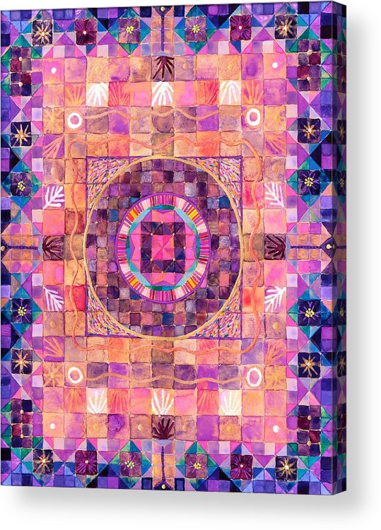 Mystical Mandala In Violets And Purples Describing Esoteric Secrets. Acrylic Print featuring the painting The Seventh Ray by Sandy Thurlow