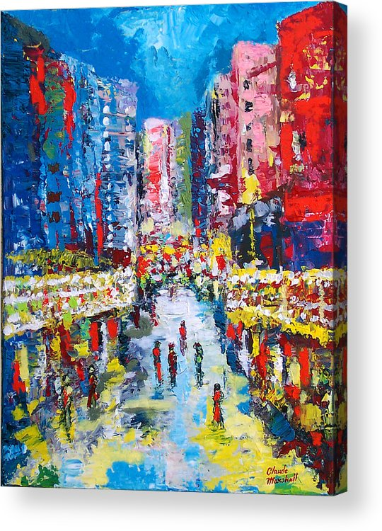 Abstract Acrylic Print featuring the painting Theatre Street by Claude Marshall