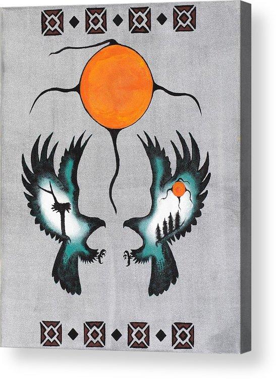 Thunderbirds Acrylic Print featuring the painting Thunderbirds Nest by Cliff Rabbitskin