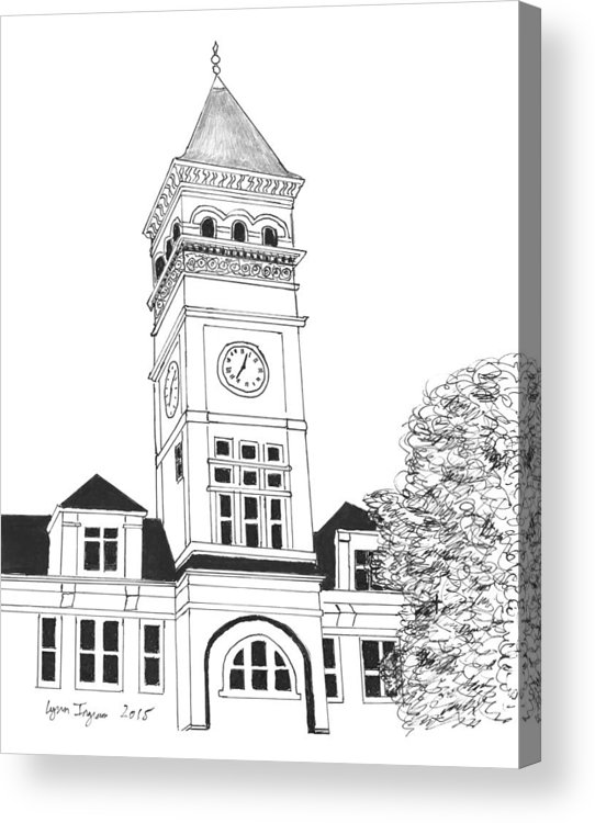 Tilman Acrylic Print featuring the drawing Tillman Hall by Lynn Ingram