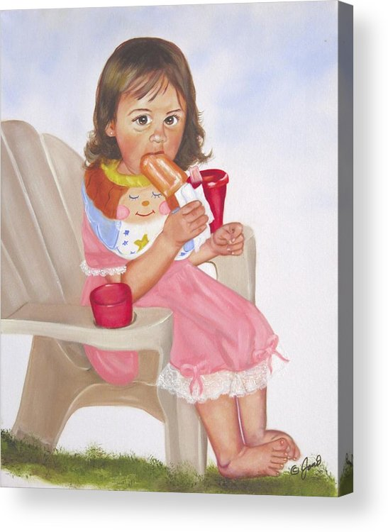 Child Acrylic Print featuring the painting Time Out For Ice Cream by Joni McPherson