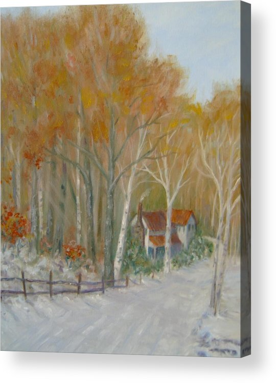Country Road; House; Snow Acrylic Print featuring the painting To Grandma's House by Ben Kiger