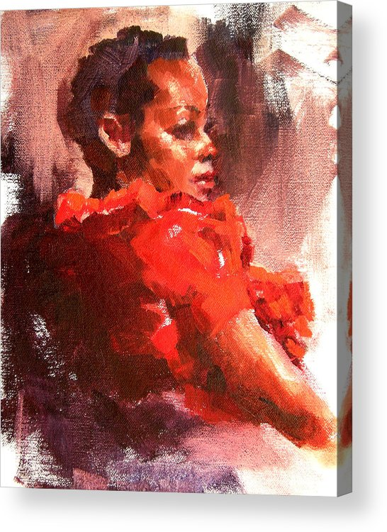 Portrait Acrylic Print featuring the painting Totally Red by Merle Keller