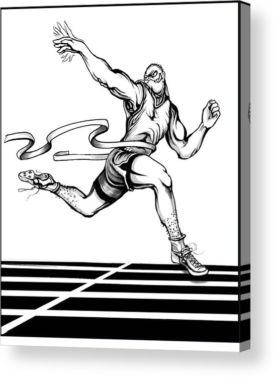 Track Acrylic Print featuring the drawing Track Sprinter by Keith Naquin