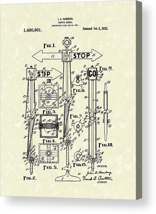 Hamberg Acrylic Print featuring the drawing Traffic Signal 1922 Patent Art by Prior Art Design