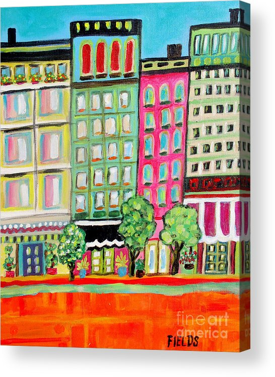 Folk Acrylic Print featuring the painting Tree Line Avenue by Karen Fields