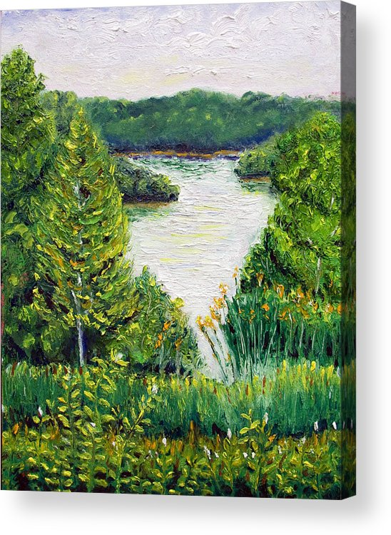 Lake Acrylic Print featuring the painting Tributary Salt Fork Lake Ohio by Robert Sako