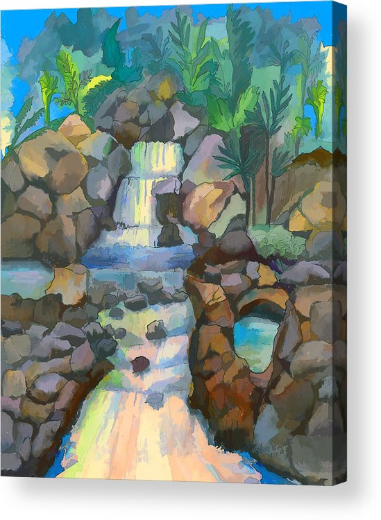 Waterfall Acrylic Print featuring the painting Tropical Rainbow Waterfall by Arline Wagner