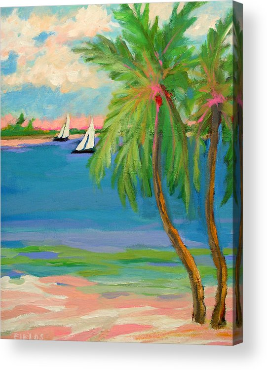 Sailboat Acrylic Print featuring the painting Tropical Sails by Karen Fields