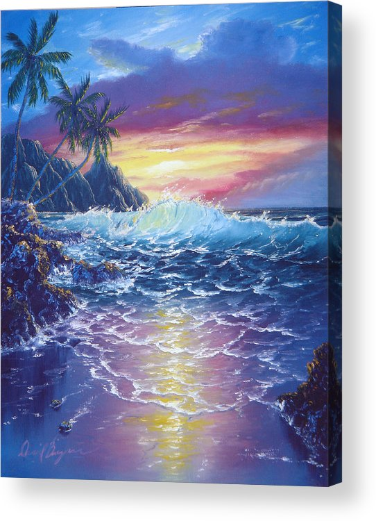 Dolphin Acrylic Print featuring the painting Tropical Seascape by Daniel Bergren
