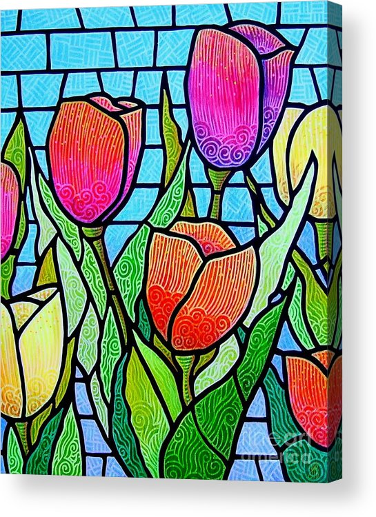 Tulips Acrylic Print featuring the painting Tulip Garden by Jim Harris