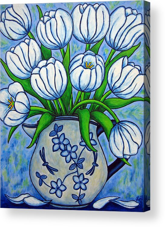 Flower Acrylic Print featuring the painting Tulip Tranquility by Lisa Lorenz