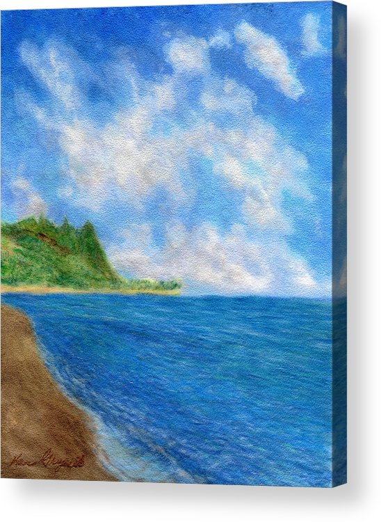 Rainbow Colors Pastel Acrylic Print featuring the painting Tunnels Beach Sky by Kenneth Grzesik