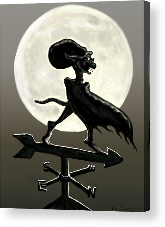Vampires Acrylic Print featuring the painting Vampire Moon by Kim Souza