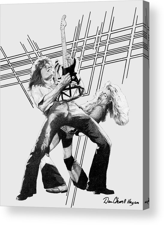 Music Acrylic Print featuring the drawing Vanhalen by Dan Clewell