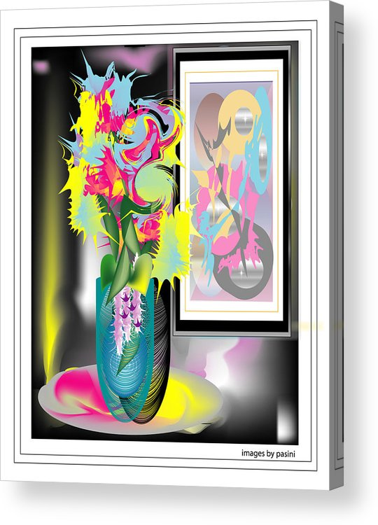 Acrylic Print featuring the digital art Vase And Painting by George Pasini