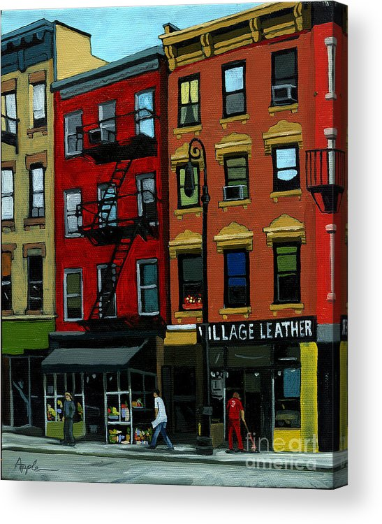 Cityscape Acrylic Print featuring the painting Village Leather - New York Cityscape by Linda Apple