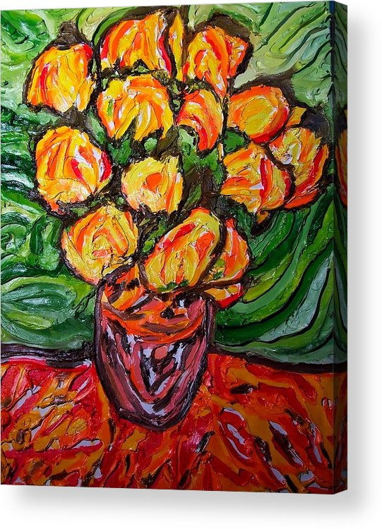 Van Gogh Acrylic Print featuring the painting Vinces Flowers by Ira Stark