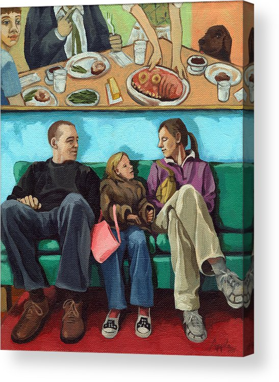 Diner Acrylic Print featuring the painting Waiting At The Diner by Linda Apple