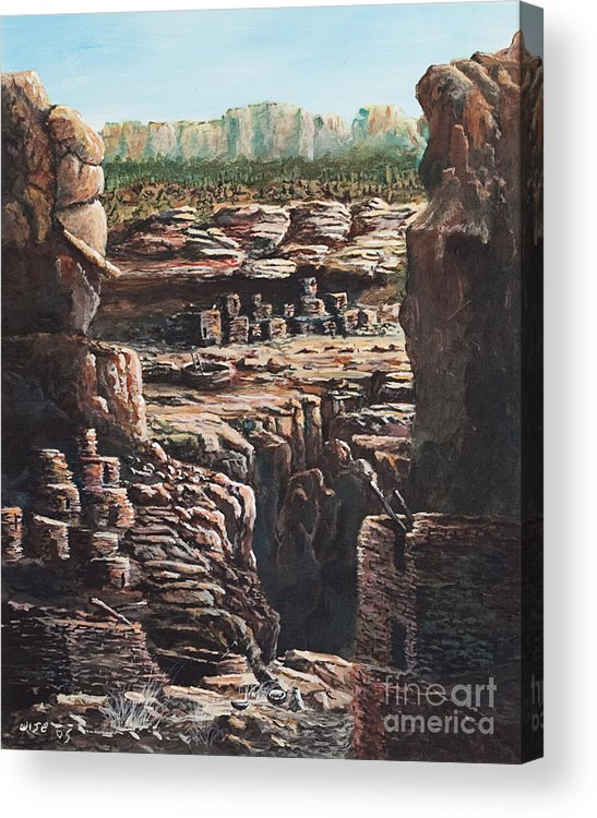 Anasazi Ruins Acrylic Print featuring the painting Walnut Canyon by John Wise