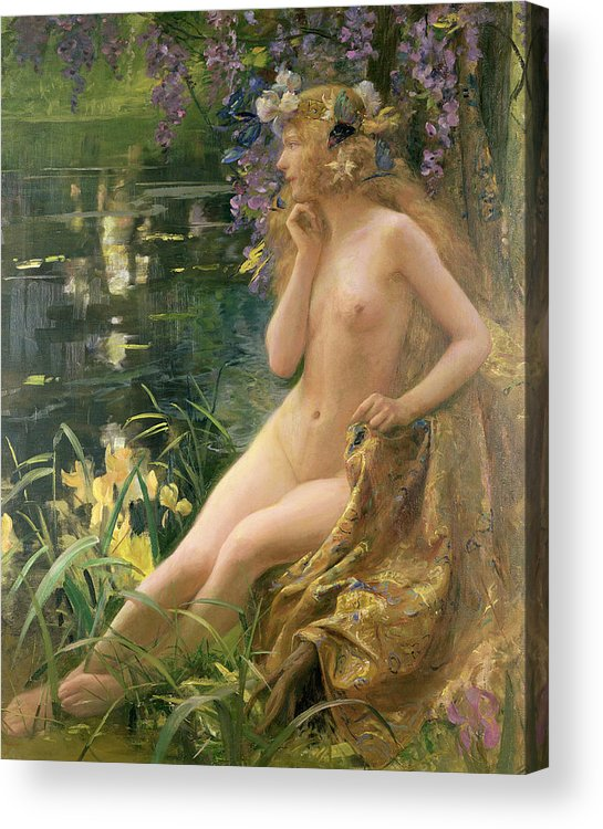 Water Nymph (oil On Canvas) By Gaston Bussiere (1862-1929) Acrylic Print featuring the painting Water Nymph by Gaston Bussiere